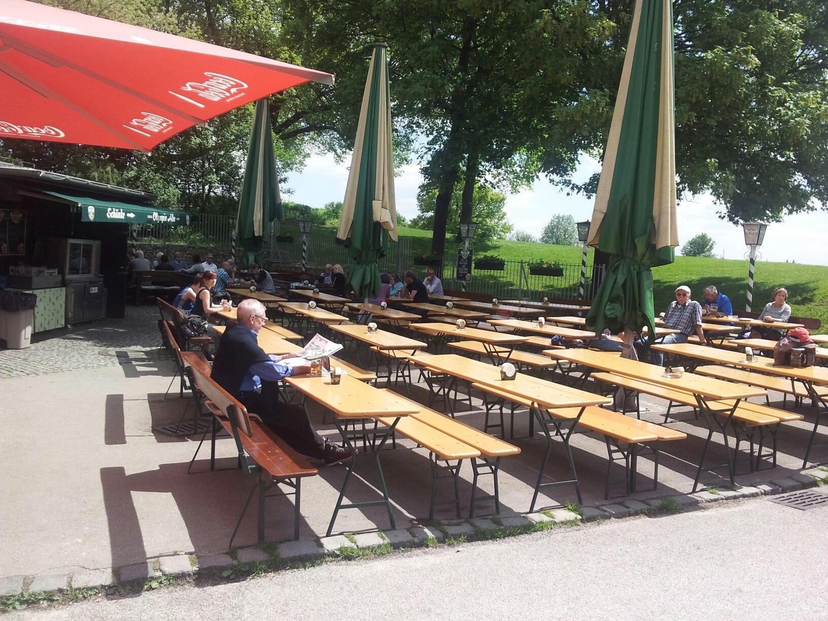Biergarten O,lympia Alm im Oylmpia Park