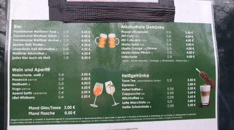 Gasthof Feringasee mit Biergarten - Getränkekarte