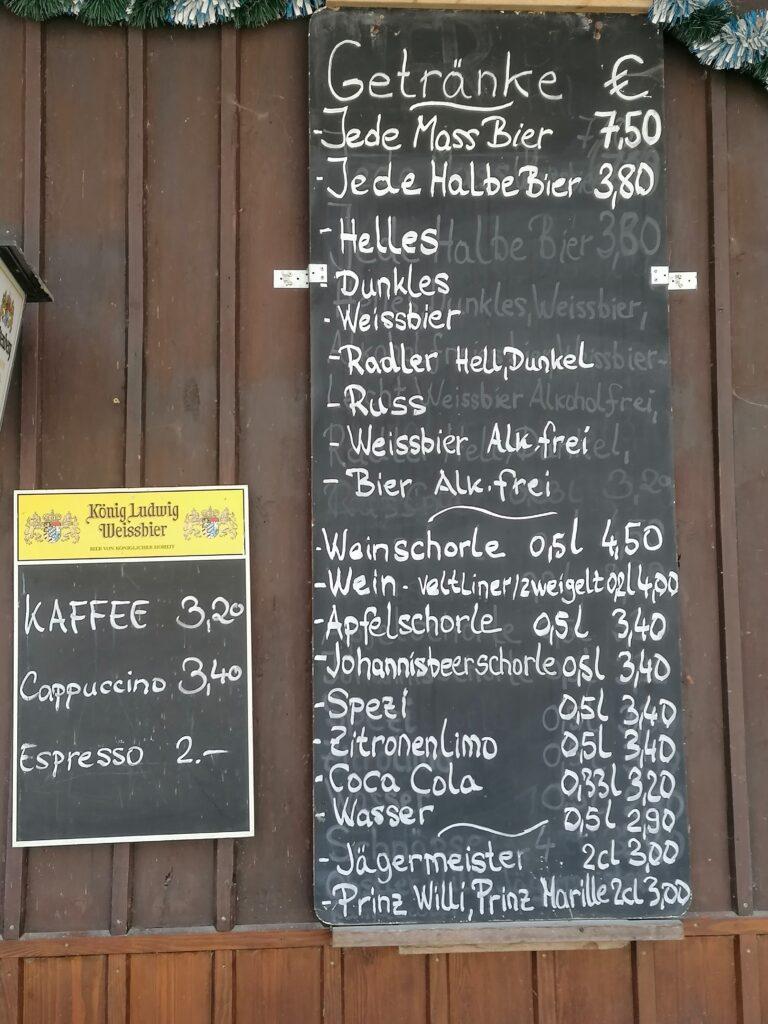 Die Getränkekarte Biergarten Alte Villa
