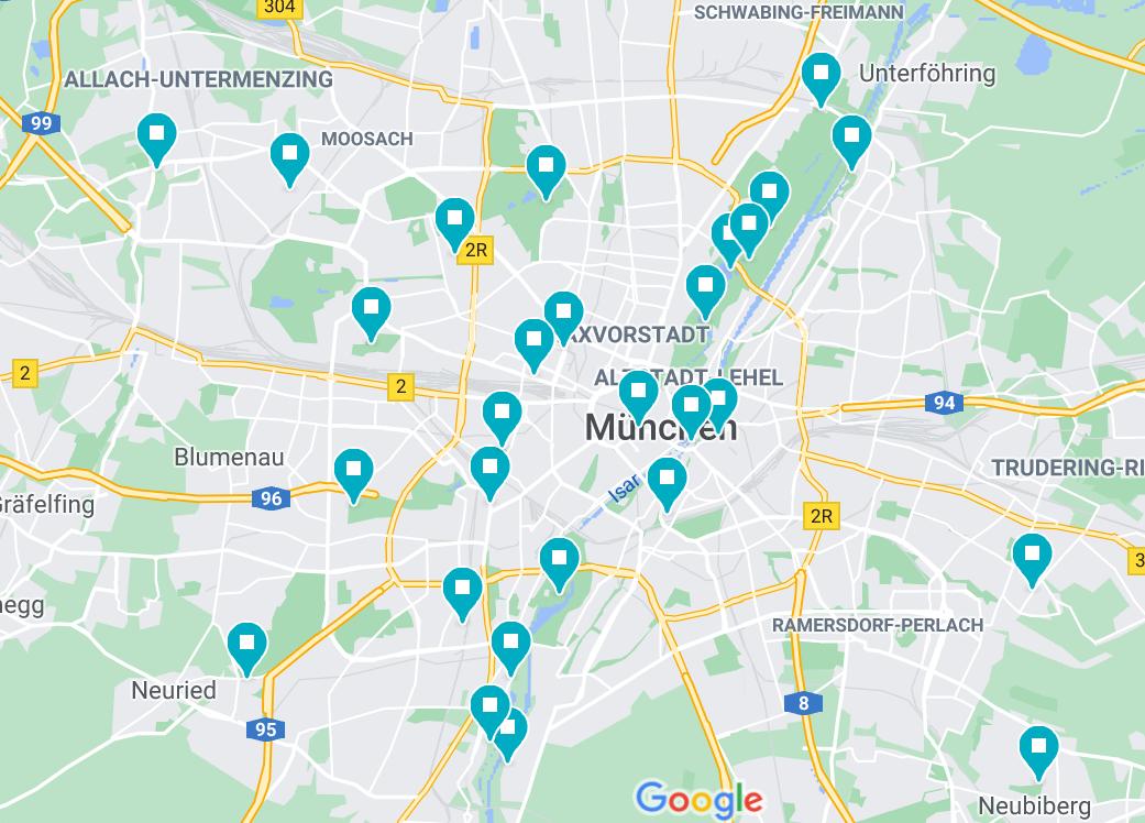 Karte der Biergärten in München